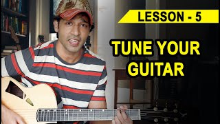 LESSON - 05 HOW TO TUNE YOUR GUITAR (90 Days Basic Guitar Course) By VEER KUMAR