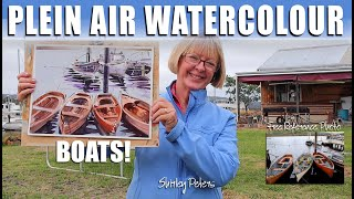 Plein Air Painting Boats in Watercolour: real-time demonstration on the wharf.