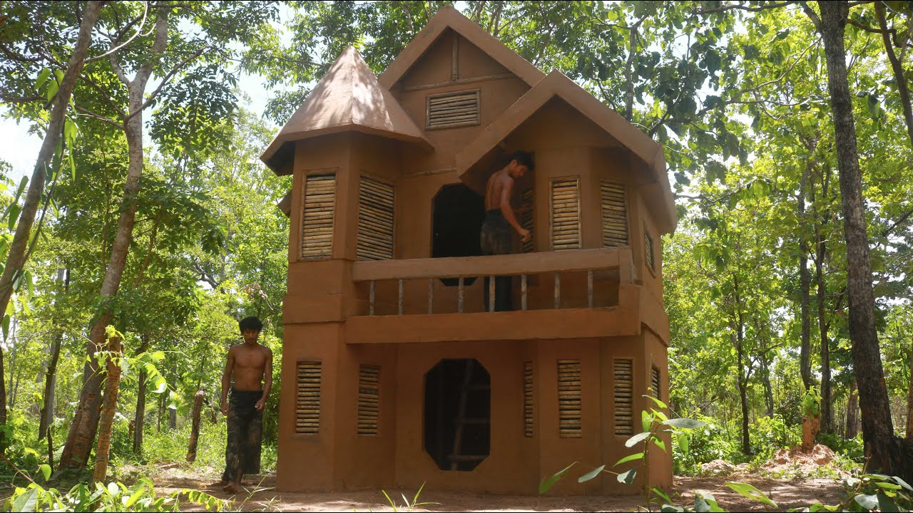 Primitive Building : built the most style mud king villa house two story and Modern