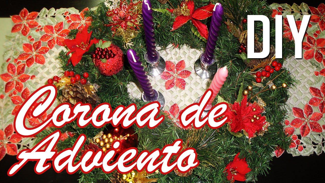Diy corona de adviento decoraci n navidad youtube for Coronas de navidad