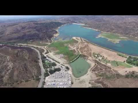 Irvine Lake See the Effects of the Drought - Aerial Fo