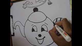 tea pot,,,,drawing for kids ,i am a little teapot