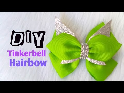 How to make Hairbow Tinkerbell  Inspired DIY    Easy Tutorial
