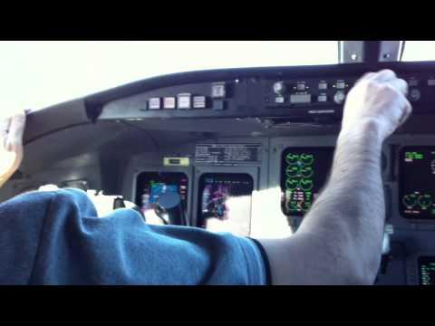 Bombardier CRJ-200 takeoff cockpit