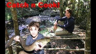 Primitive DIY SURVIVAL SHELTER - Catch n Cook! HUGE EEL