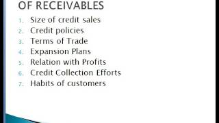 Receivable Mgmt -Working capital mgmt