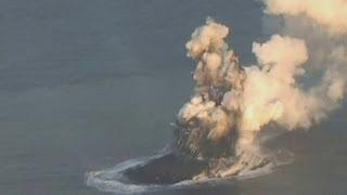 Underwater volcano erupts giving birth to an island