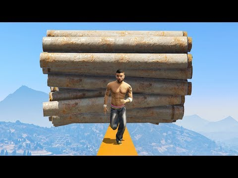 WORLD'S MOST IMPOSSIBLE OBSTACLE TIGHROPE DEATHRUN! (GTA 5 Funny Moments)