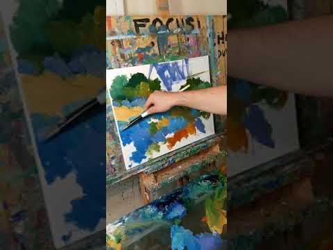 Oil Painting,Texas Bluebonnets, Impressionist Landscape by Artist JOSE TRUJILLO