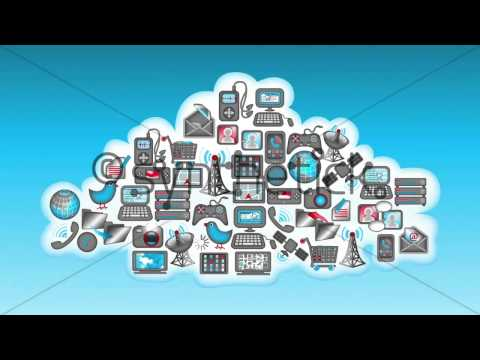 Cloud Computing Loop. Digital devices & communication icons in a cloud