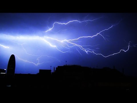 Lightning Storm with Rolling Thunder and Rain in the City