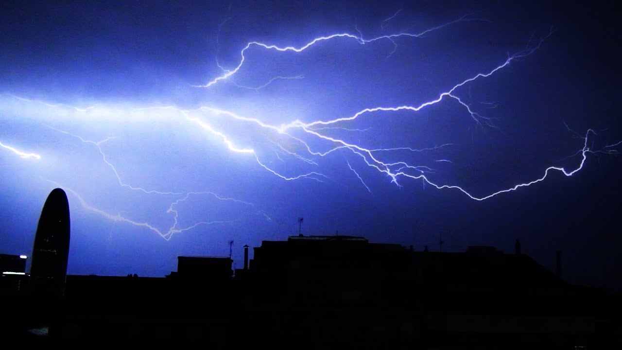 Lightning Storm with Rolling Thunder and Rain in the City ...