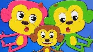 cinq petits singes | chansons pour enfants | singes rimes | numéros chanson | Five Little Monkeys