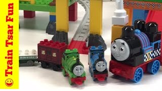 PERCY SPECIAL DELIVERY MAIL TRAIN and THOMAS MEGA BLOKS RACIN' RAILWAY WAGON