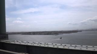 Driving over the Bronx--Whitestone Bridge to Queens