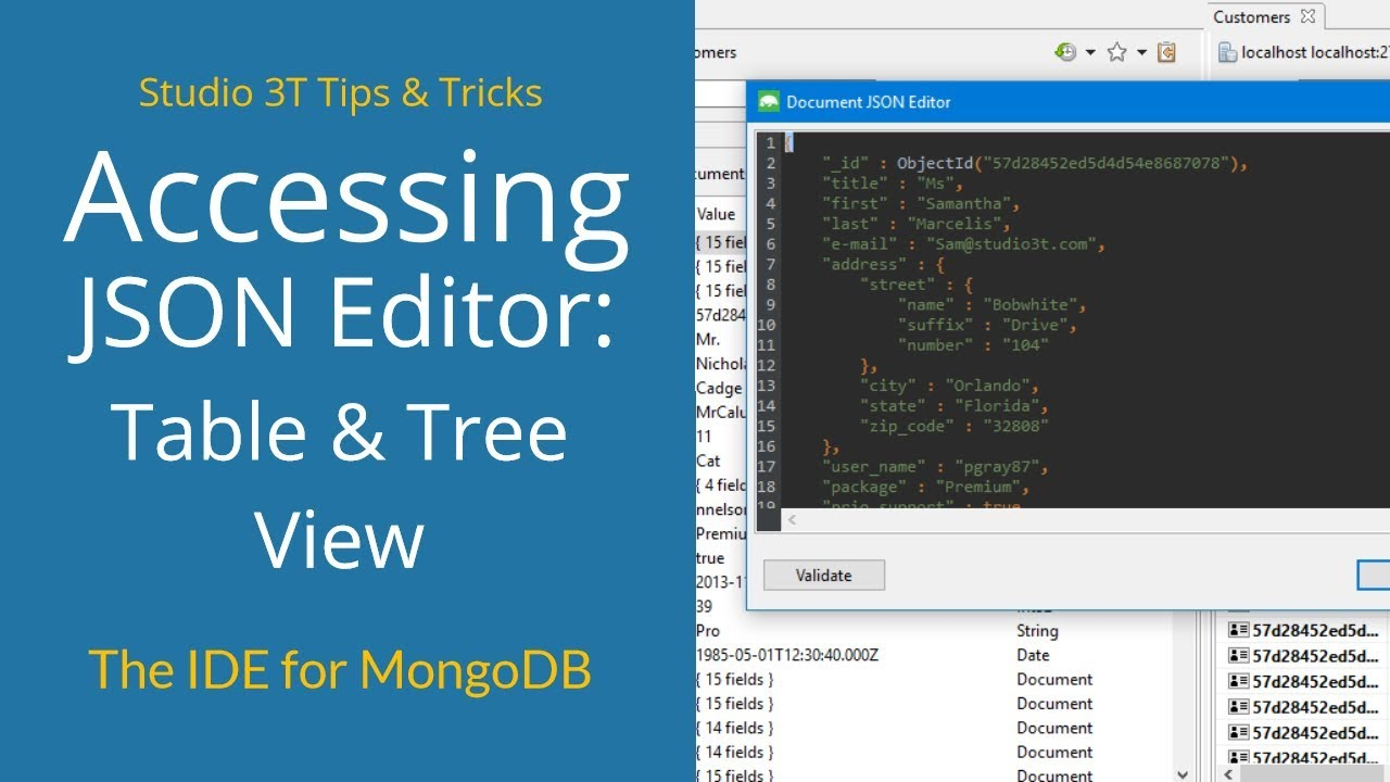 #20 Access the JSON Editor from Table and Tree View - Studio 3T Tips &  Tricks | MongoDB Tutorial