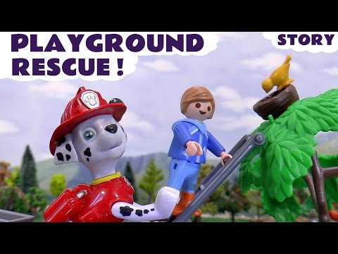 Paw Patrol Rescue Play Doh eggs in PLAYMOBIL Playground Toys | Thomas & Friends Kids Stop Motion