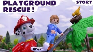 paw patrol rescue play doh eggs in playmobil playground toys   thomas friends kids stop motion