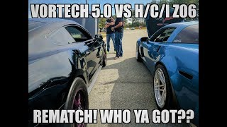 BADASS RACE WITH SAME DAY DYNO RESULTS! H/C/I C6 Z06 vs Vortech 5.0 on 14lbs