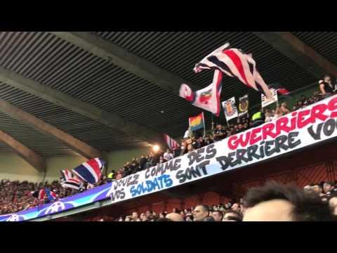 PSG ambiance tribune Auteuil contre Barça