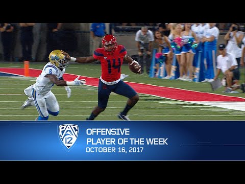 Arizona quarterback Khalil Tate named Pac-12 football Offensive Player of the Week after another...