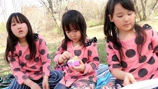 【青森市萱野高原】 広大な自然の中でピクニックを楽しむ三姉妹 thumbnail