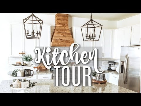 MODERN FARMHOUSE KITCHEN TOUR 2019 // DIY RAE DUNN DISPLAY