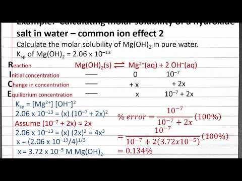 CHEM 201: Calculating Molar Solubility Of A Hydroxide Salt In Water – Common Ion Effect 2