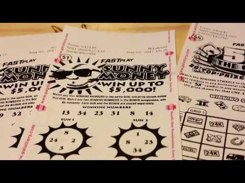 (WINNER) NEW PA LOTTERY FAST PLAYS!! SUNNY MONEY & 5X THE CASH