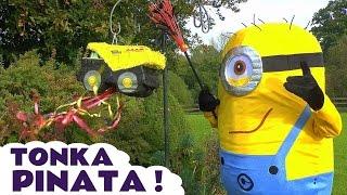 Minions open Tonka Truck Pinata Surprise Toys Candy Tonka Tinys Family Party Fun TT4U