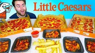 TRYING LITTLE CAESARS MENU! - Pretzel Crust Pizza, Chicken Wings, and MORE Taste Test!