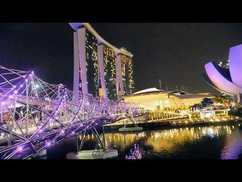 Helix Bridge Marina Bay Singapore Detail HD Video.Man Made Marvels.