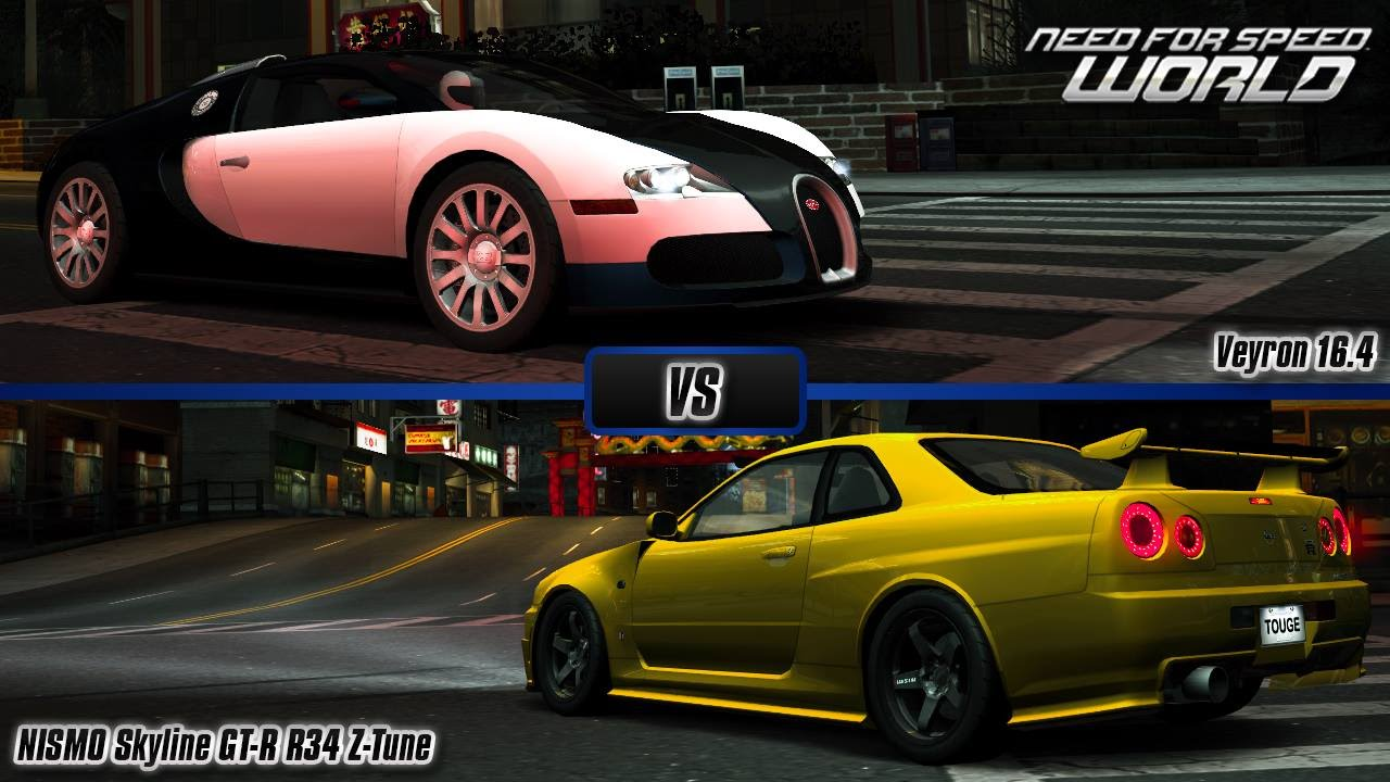 need for speed world bugatti veyron 16 4 vs nissan nismo skyline gt r r34 z tune youtube. Black Bedroom Furniture Sets. Home Design Ideas