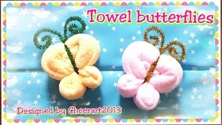 Towel fold craft - Towel butterfly tutorial摺毛巾手工教學 - 毛巾蝴蝶教學