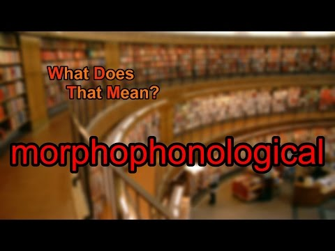 What does morphophonological mean?