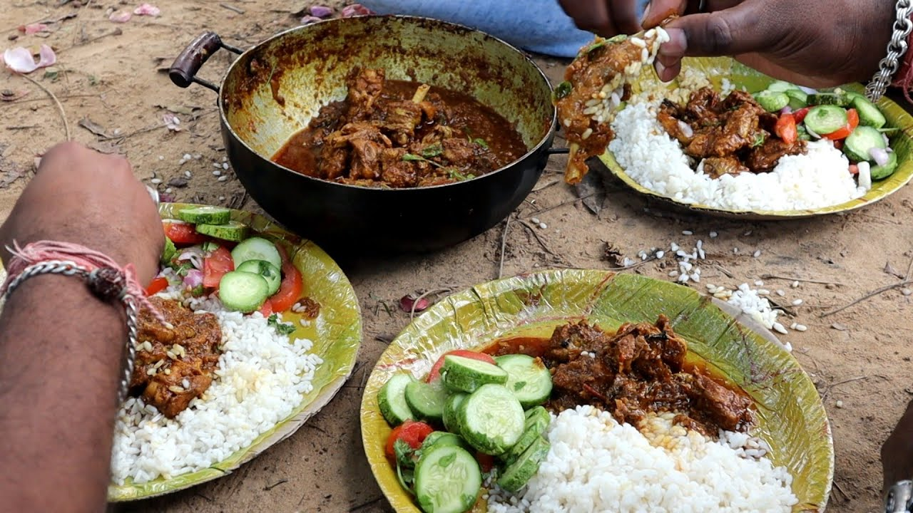 Download Enjoying Vanaraj Chicken Curry With Rice & Salad at Riverside   Delicious meal