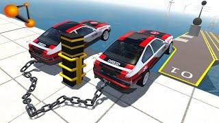 BeamNG.drive - Chained Cars against Bollard #3