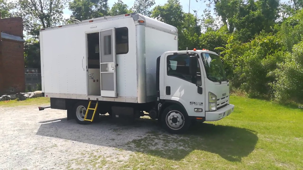 Tour of converted box truck camper/motorhome  Isuzu NQR, NPR