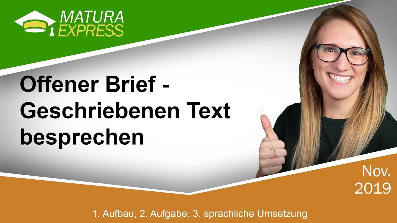 Offener Brief Geschriebenen Text Besprechen Zentralmatura
