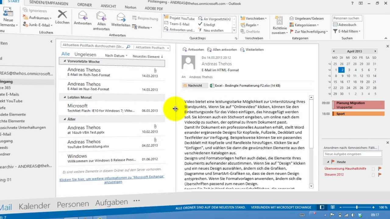 Outlook 2013 - Kalender und Termine in der Aufgabenleiste - Kalender ...