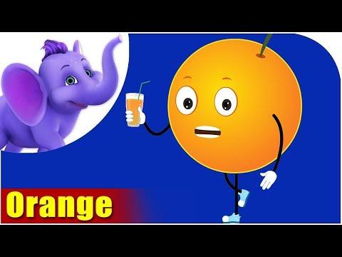 Orange Fruit Rhyme for Children, Orange Cartoon Fruits Song for Kids