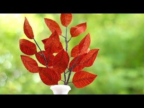 Crepe Paper Fall Leaf Branch Tutorial | DIY Fall crafts & Decor | Crepe Paper