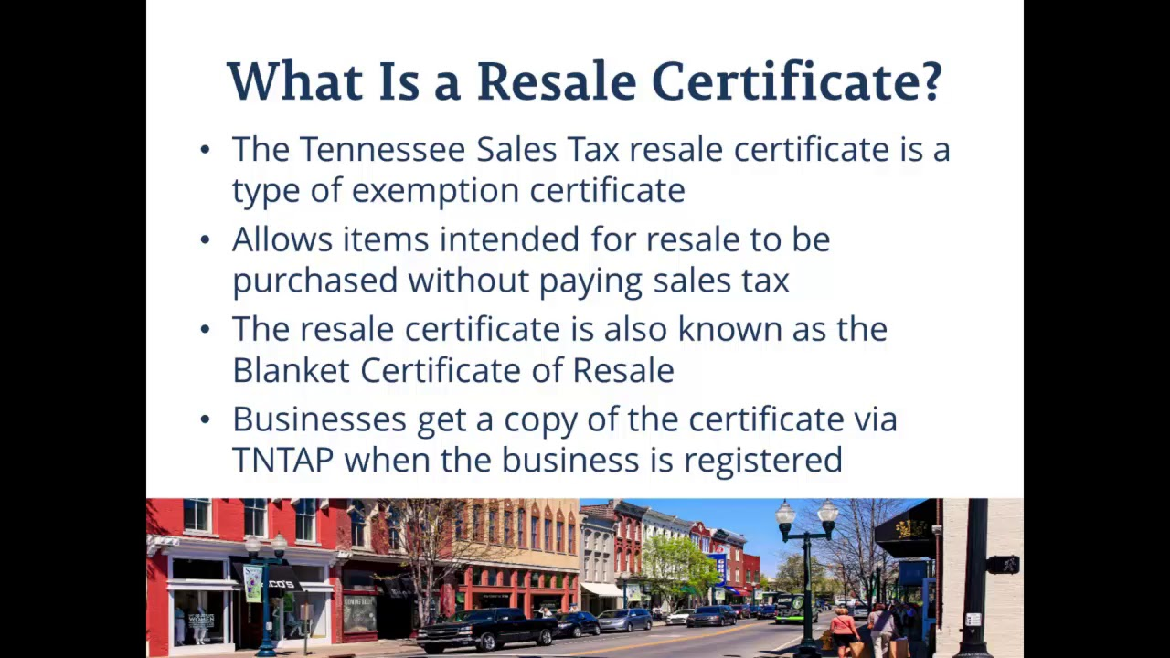 Using The Tennessee Sales Tax Resale Certificate Youtube