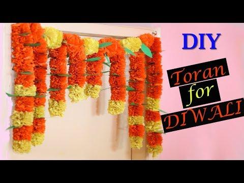 Marigold Paper Flower Toran | DIY Diwali Decorations | Paper Crafts | Home Decor | Little Crafties