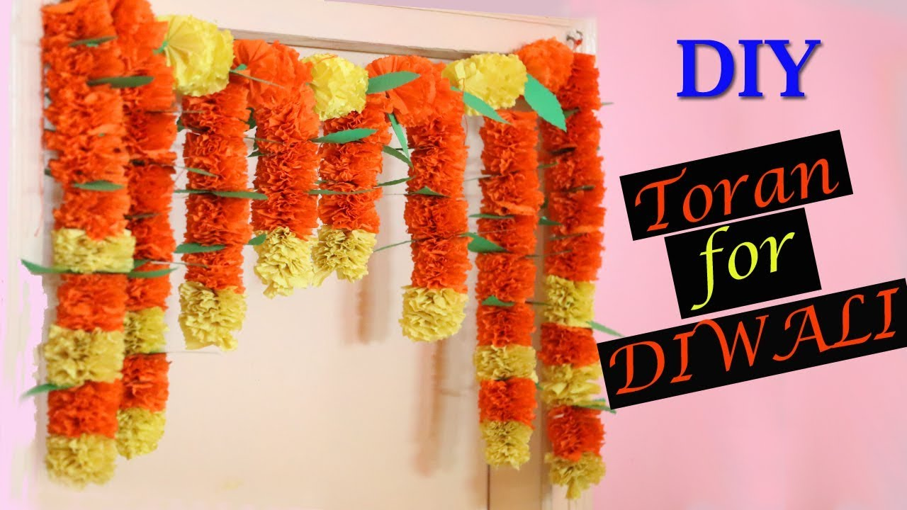 Marigold Paper Flower Toran Diy Diwali Decorations Paper