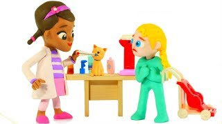 FUNNY KIDS TAKE THE KITTY TO THE VET ❤ Play Doh Cartoons For Kids