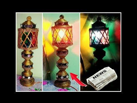 Newspaper table /night lamp handmade |Newspaper crafts