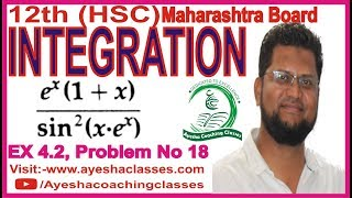 12th (HSC) Integration Ex 4.2 Problem 18. In Hindi and Urdu