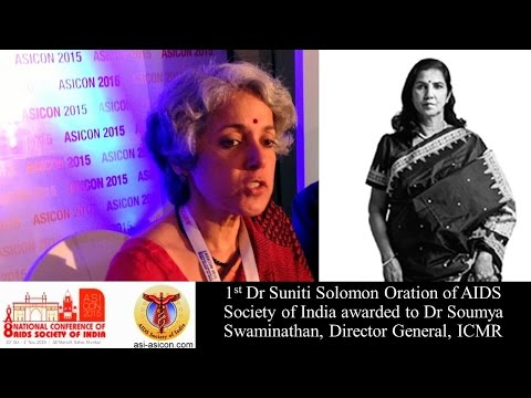 [Focus] Dr Suniti Solomon Oration Award to Dr Soumya Swamina