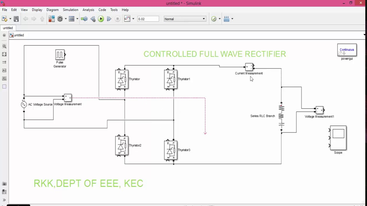 Matlab Simulation Of Controlled Fullwave Rectifier Youtube Full Wave Diagram